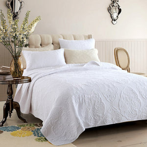 Snow White Embroidered Matelasse Quilted Bed Set