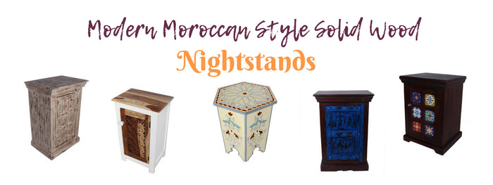 8 Modern Moroccan Style Solid Wood Nightstands with Drawers