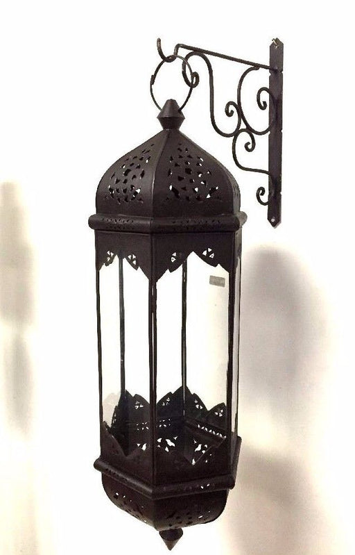 Moroccan Hexagonal Wrought Iron Pending Glass Lantern Elongated Lamp