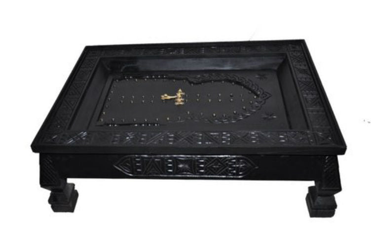 Moroccan Carved Wood Arabesque Door Design Centered Black Coffee Table