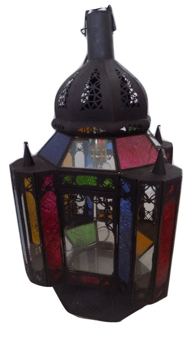 Moroccan Hanging Pendant Lantern Carved black Finish & Glass Tin Lamp Fixture
