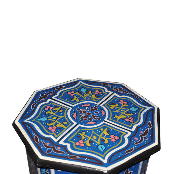 Moroccan Accent Octagonal Hand Painted End Table Moorish Design Furniture