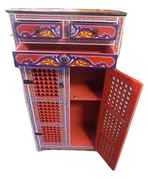 Handmade Moroccan Hand painted Cabinet Red