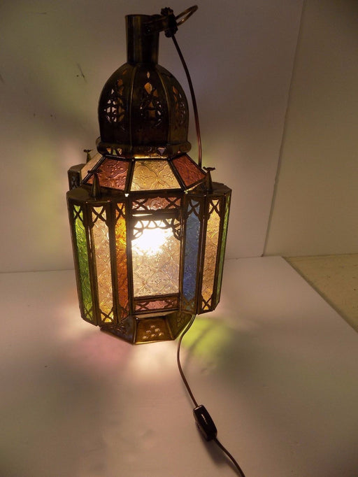 Moroccan Hanging Pendant Lantern Frosted Stained Glass Lamp