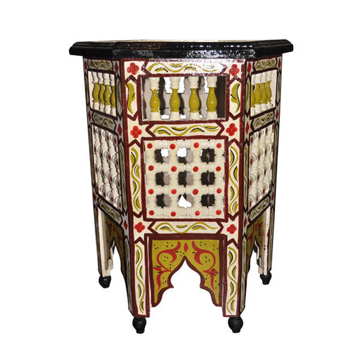 Moroccan Octagonal Moucharabieh Hand painted End Table Arabic Design Pink-Beige