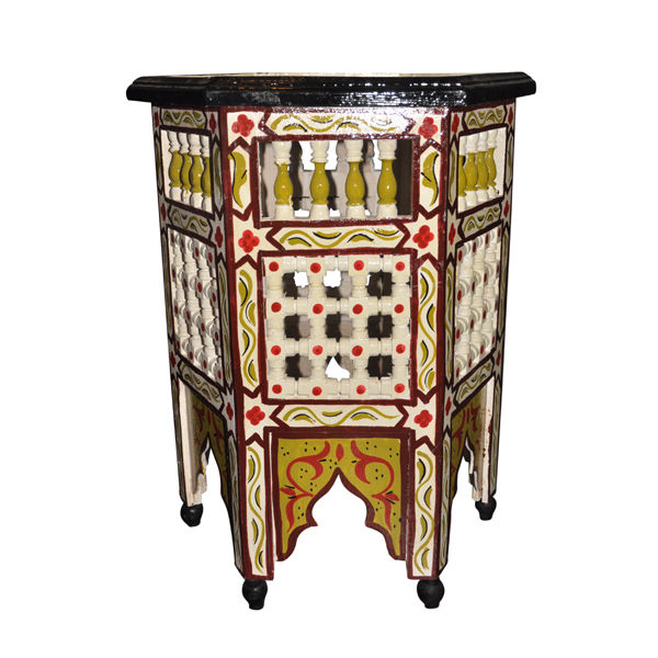 Moroccan Octagonal Moucharabieh Hand Painted End Table Arabic Design