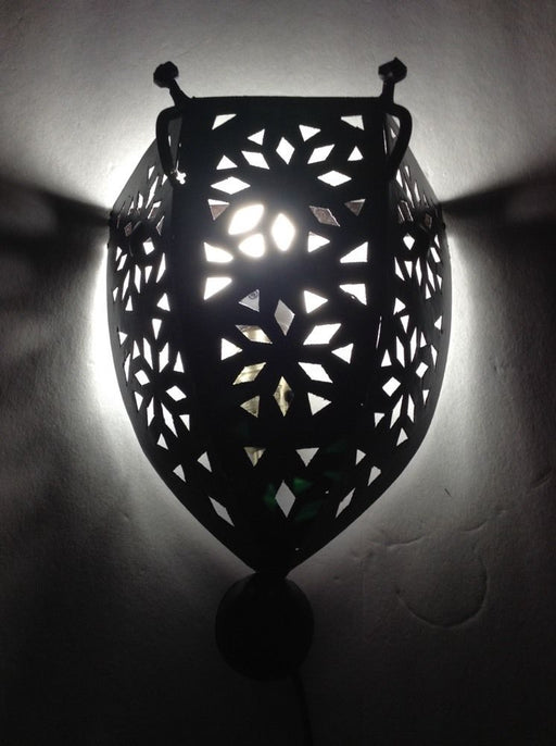 Moroccan Rustic Black Wrought Iron Tin Wall Light Sconce