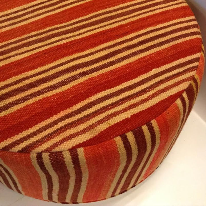 Moroccan Tribal Handwoven Kilim Wool Round Ottoman Pouf Seat Red & Brown Stripes