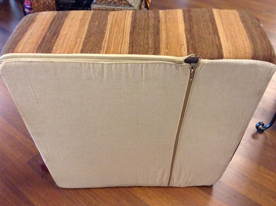 Moroccan Hand Woven Kilim Wool Square Ottoman Pouf Chair in Brown Color Stripes