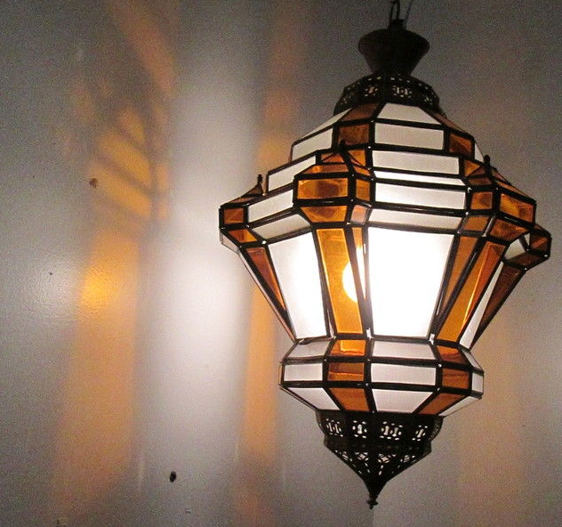 Moroccan Hanging Pendant Lantern Carved Brass finish , Frosted & amber Glass Lamp Fixture