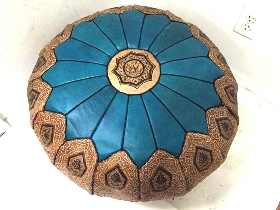 Moroccan 100% Leather Hassack Round Ottoman Pouf Seat Turquoise