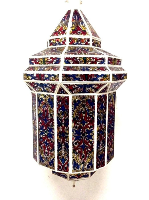 Moroccan Hanging Pendant Lantern Handpainted Stained Glass Lamp Fixture
