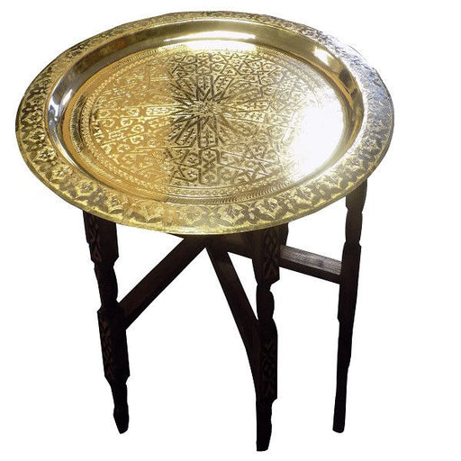 Moroccan Traditional Tray Top Round Carved Wood Table