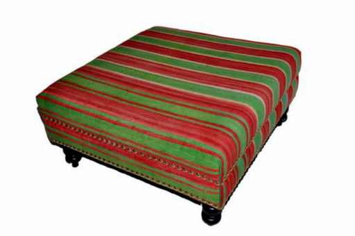 Moroccan Handwoven Kilim Wool Square Ottoman Chair Pouf Green & Red