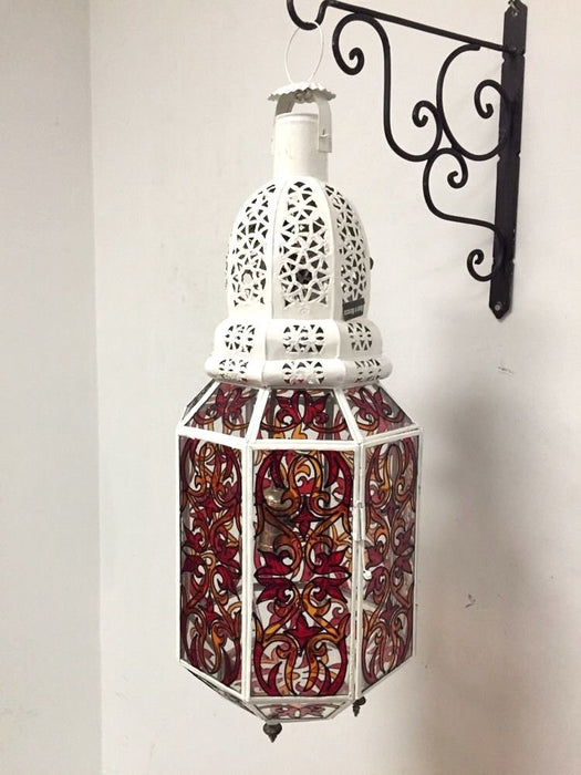 Moroccan Hanging Pendant Lantern Carved Metal White Enamel Stained Glass
