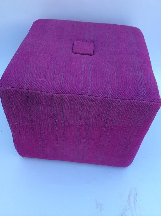 Awesome Moroccan Handwoven Kilim Wool Square Small Ottoman Chair Pouf Purple Dailytribune Chair Design For Home Dailytribuneorg