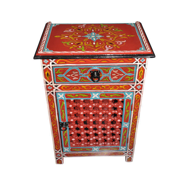 Red Moroccan Handpainted Nightstand Wood & Iron Made Table ...