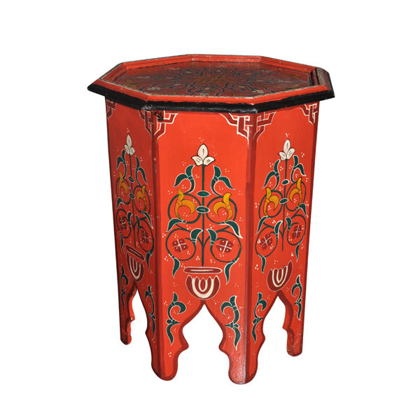 Moroccan Octagonal Moucharabieh Handpainted End Table