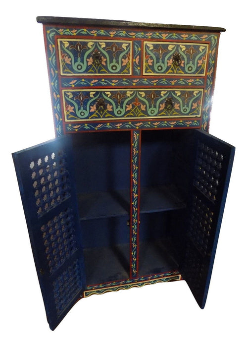 Hand painted Moroccan cabinet Blue