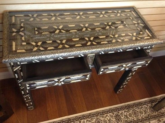 Moroccan Console Table Polished Camel Bone & Brown Wood  Carved Etched Metal