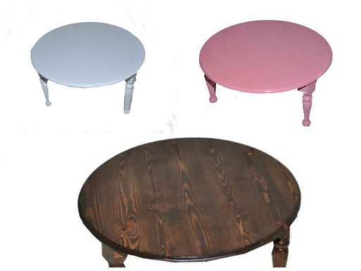 "Round Dark Wood Low Coffee Table Round 31"" Diameter in Assorted Colors 3 Legs"