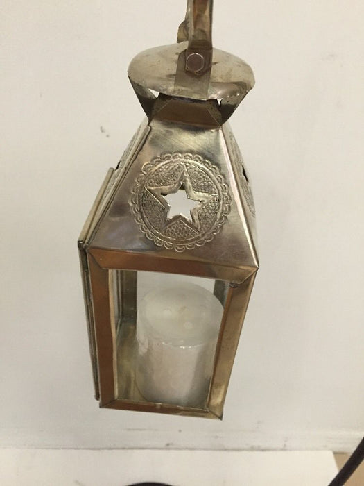 Moroccan Star Lantern Silver Metal & Glass Hanging Candle Lamp