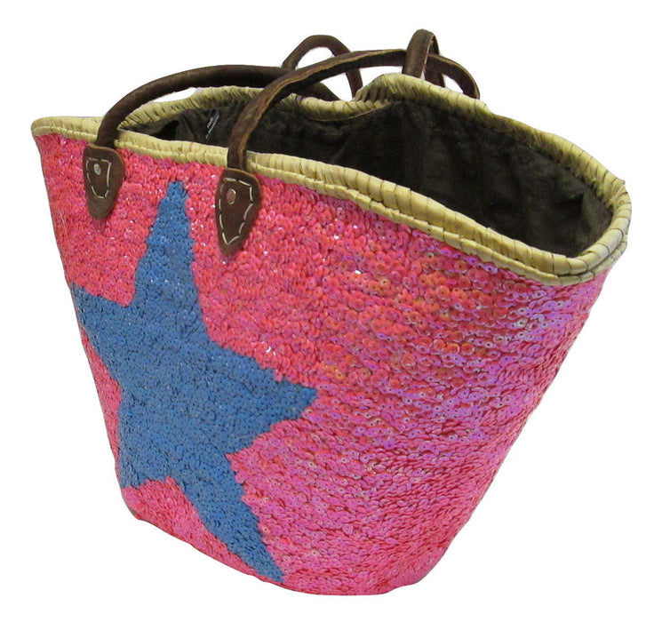 Moroccan French Market Basket Star Hot pink and blue