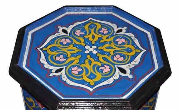 Moroccan Hand Painted Accent End Table | Octagonal Moorish Design Furniture