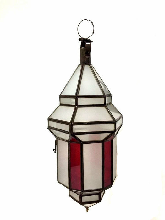 Moroccan Hanging Pendant Lantern Red Stained & Frosted Glass Lamp