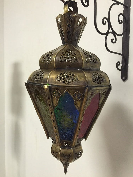 Moroccan Hanging Pendant Lantern  Brass Finish & Stained Glass Conical Lamp
