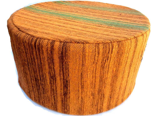 Moroccan Tribal Handwoven Kilim Wool Round Ottoman Pouf Seat Orange