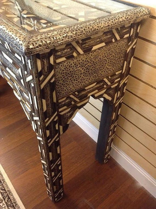 Moroccan Console Table Polished Camel Bone & Brown Wood Table