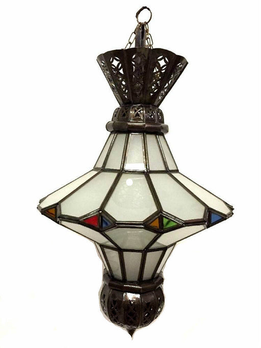 Moroccan Hanging Pendant Lantern Carved Bronze Frosted & Stained Glass