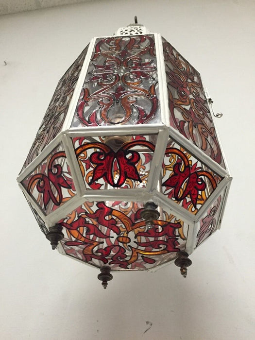 Moroccan Hanging Pendant Lantern Carved Metal White Enamel Stained Glass Lamp