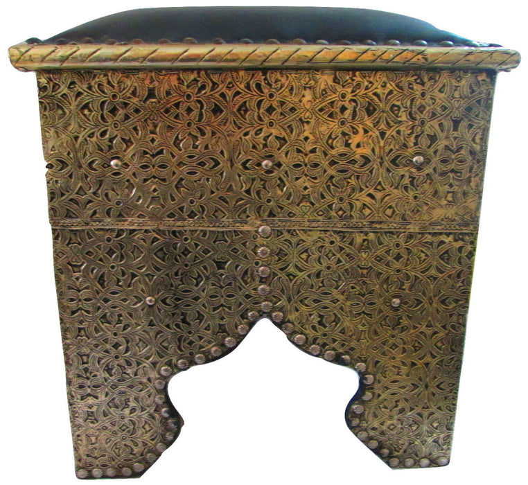Moroccan Tribal Stool Bench Traditional Carved Metal Arabic Black Top