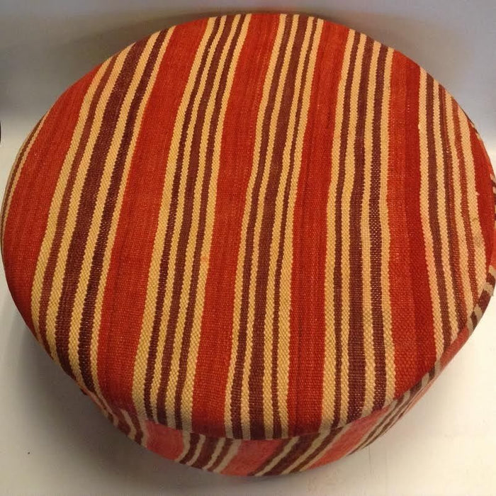Moroccan Tribal Handwoven Kilim Wool Round Ottoman Pouf Seat Red