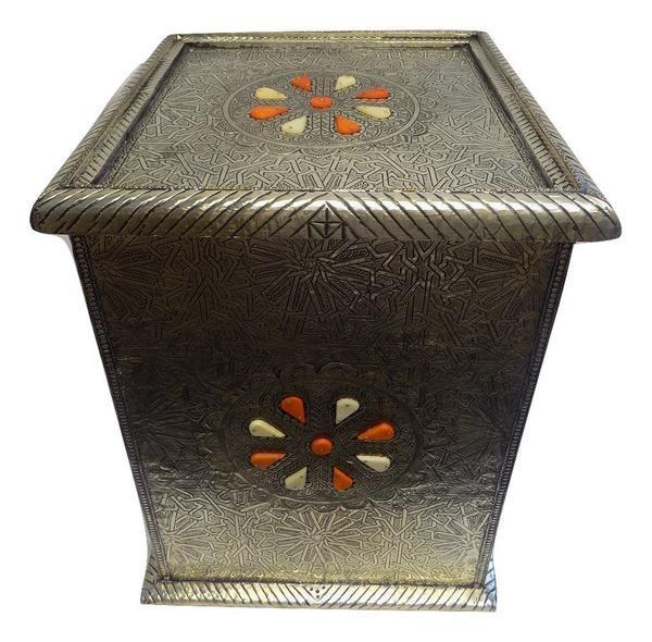 Moroccan arabesque design silver carved metal vintage end table with glass top