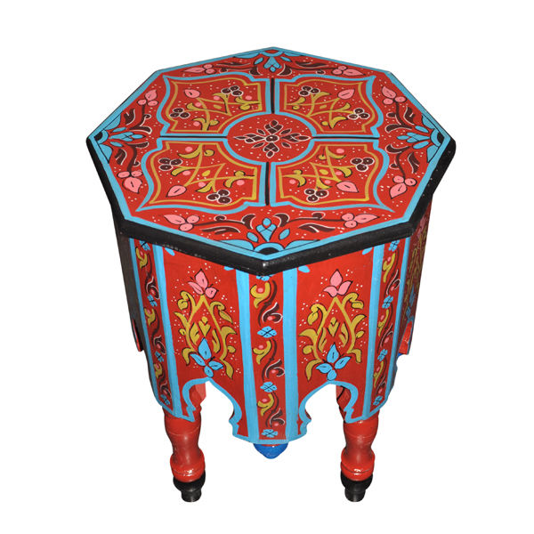 Moroccan Octagonal Hand Painted End Table Moorish Design Furniture End Table