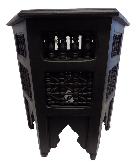 Black Moroccan Moucharabieh Octagonal side table nightstand