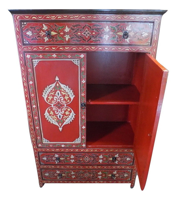 Hand painted Moroccan cabinet Red