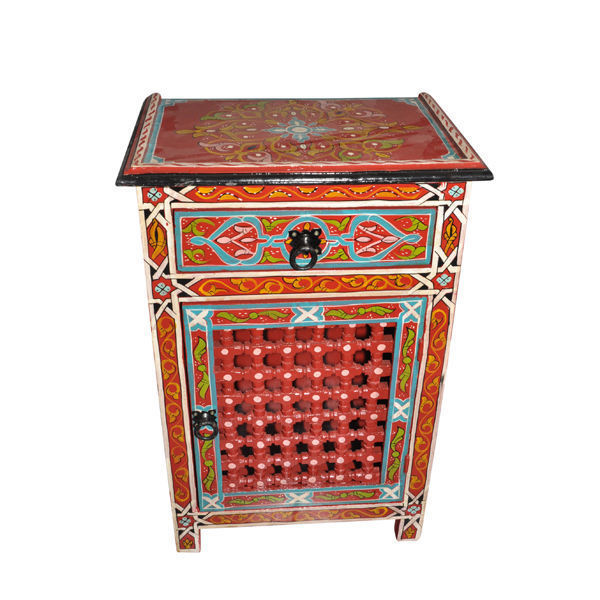 Red Moroccan Handpainted Nightstand Wood & Iron Made Table