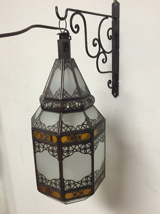 Moroccan Hanging Pendant Lantern Carved Bronze Frosted & Amber Glass Lamp