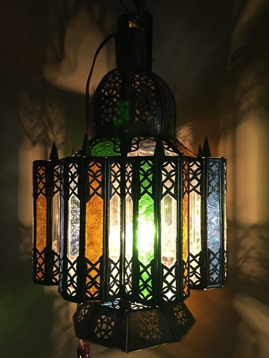 Moroccan Hanging Pendant Lantern Carved Brass Finish & Glass Tin Lamp
