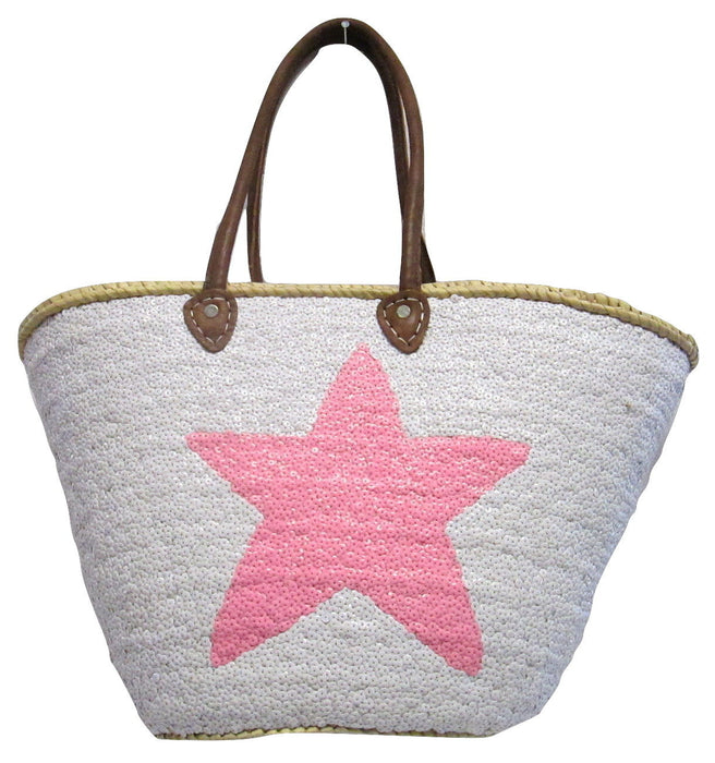 French Market Basket Sparkling Sequin & Leather Bag Star Pastel Pink & White