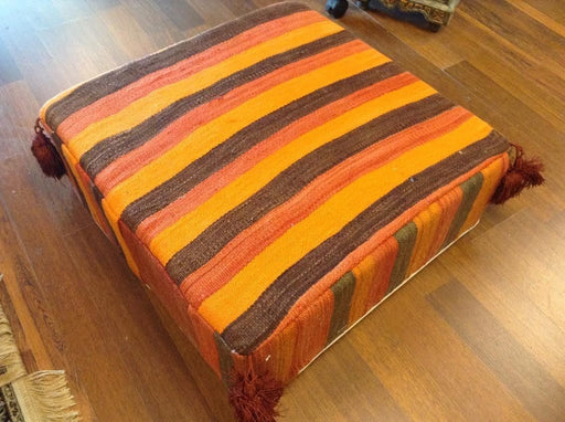 Moroccan Hand Woven Kilim Wool Square Ottoman Pouf Chair in Multicolor