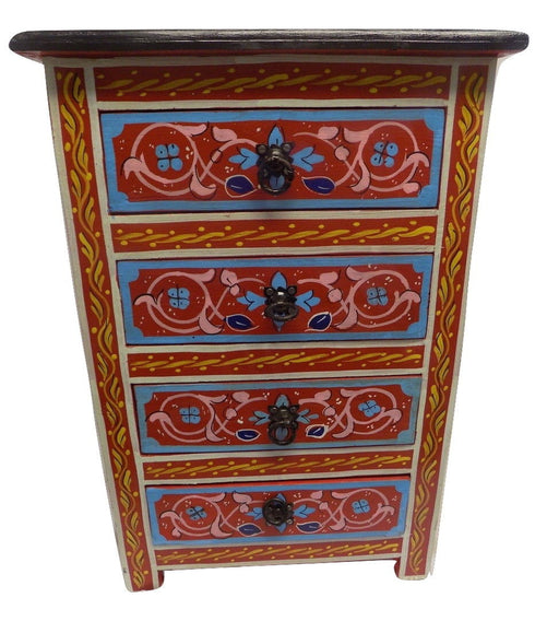 Red Moroccan Handpainted Nightstand Furniture Mediterranean Design