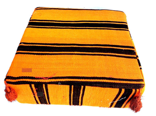 Moroccan Hand Woven Kilim Wool Square Ottoman Pouf Chair in Black & Orange Tiger