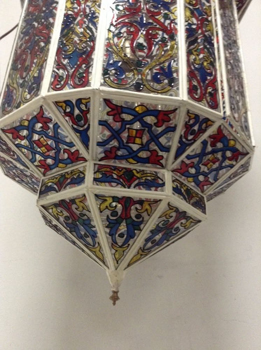 Moroccan Hanging Pendant Lantern Handpainted Stained Glass Lamp Fixture XXL