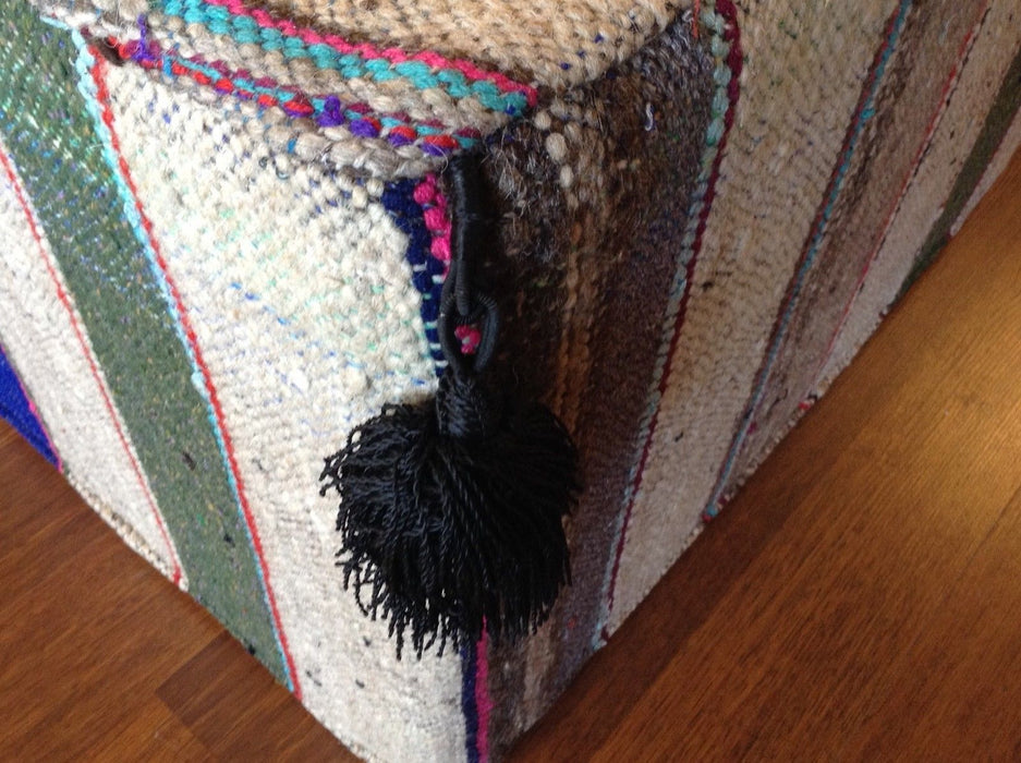 Moroccan Hand Woven Kilim Wool Ottoman Pouf chair in Multicolor