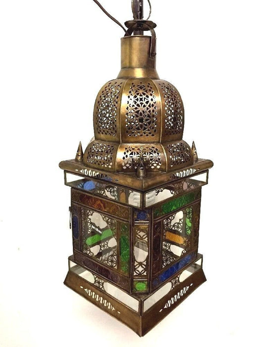 Moroccan Hanging Pendant Lantern Carved Brass Finish & Glass Tin Lamp Fixture
